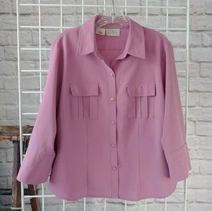 Vintage Magenta Pink Button Down Top